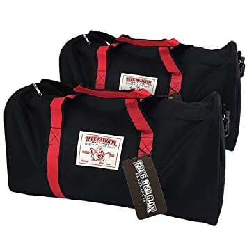 3152eb2db2 Amazon.com   TRUE RELIGION Large Black Red DUFFLE BAG Travel Athletic Sport  Carry-On Gym   Beauty