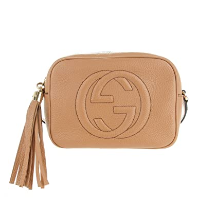 66b2e992487 GUCCI Soho Disco Camelia Beige Rose Pink Light brown Leather Crossbody Bag  New  Amazon.co.uk  Clothing