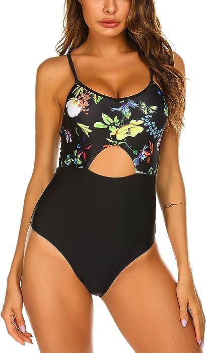 7ef719327b Untlet V-Ausschnitt Badeanzüge Damen Sexy Retro Blumen Einteilige Badeanzug  Monokini Push up Verstellbarer Schultergurt