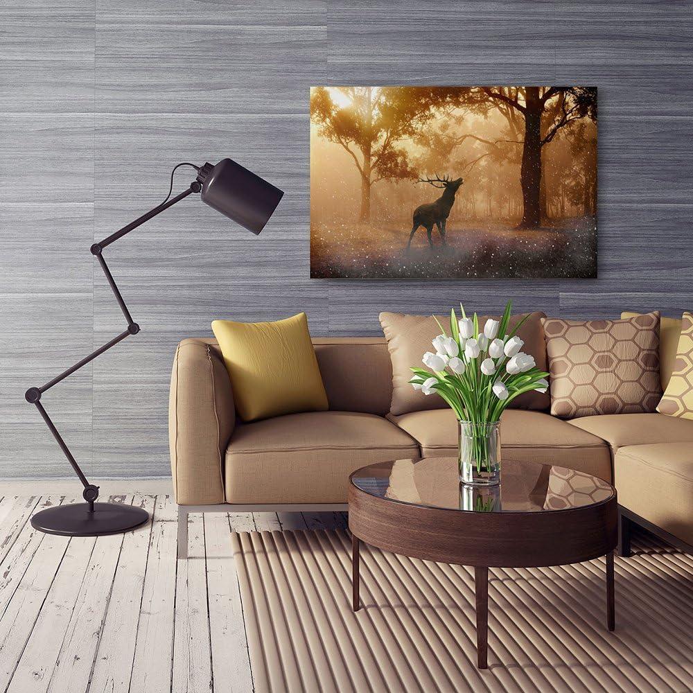 CERF Impression sur Toile D/écoration Murale Image Imprim/ée Tableau D/éco 30x40 cm Feeby 1 Partie FOR/ÊT Nature Brun