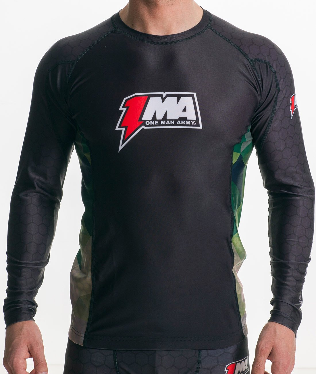 Rashguard One Man Army MMA Grappling BJJ Fightwear Kompression Funktion Atmungsaktiv Shirt Langarm Schwarz Camo