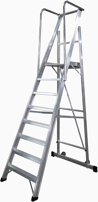KTL Escalera Plegable con Plataforma y guardacuerpos 8 peldaños móvil Profesional Serie 2XL