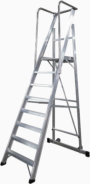 KTL Escalera Plegable con Plataforma y guardacuerpos 8 peldaños móvil Profesional Serie 2XL: Amazon.es: Hogar