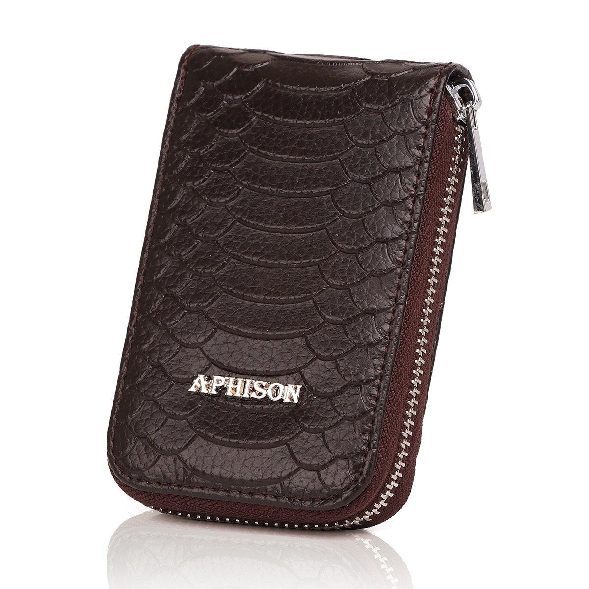 APHISON RFID Blocking Leather Credit Card Holder Case Ladies Minimalist Pocket Wallet Organizer Compact Wallet for Women (COFFEE)