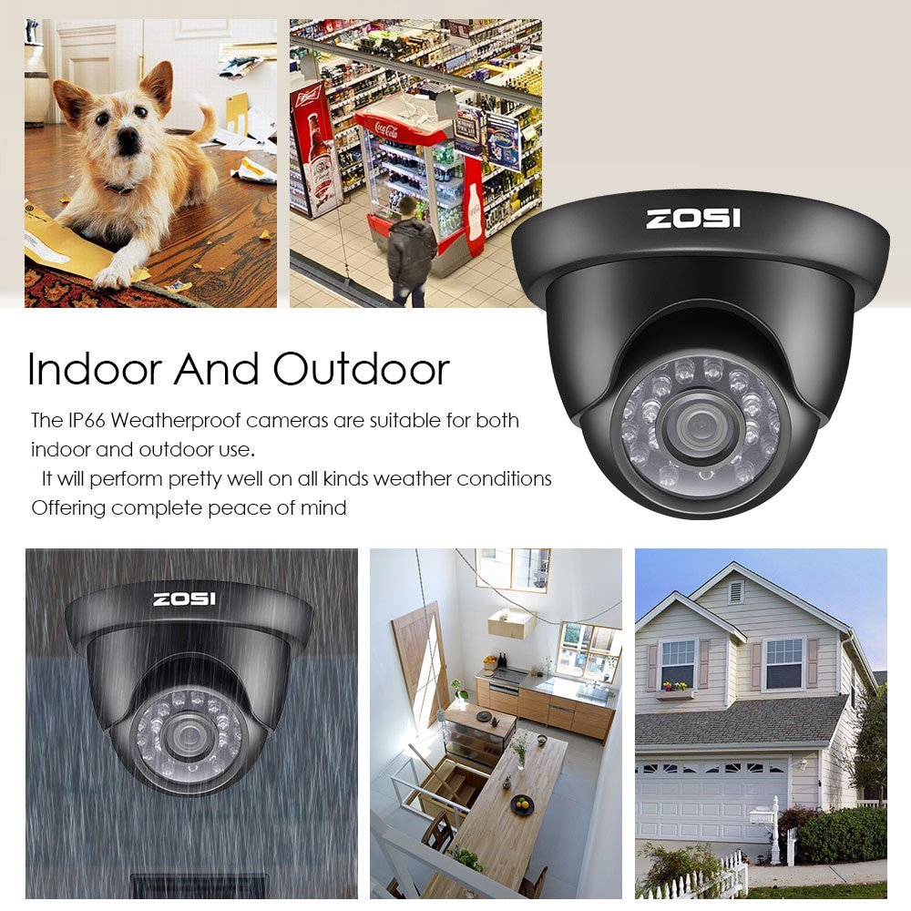 C/ámara de Vigilancia Exterior 1TB Disco Duro Detecci/ón de Movimiento Acceso Remoto ZOSI CCTV Kit de C/ámaras de Seguridad 720P Sistema de Vigilancia 8CH HD Grabador DVR + 8