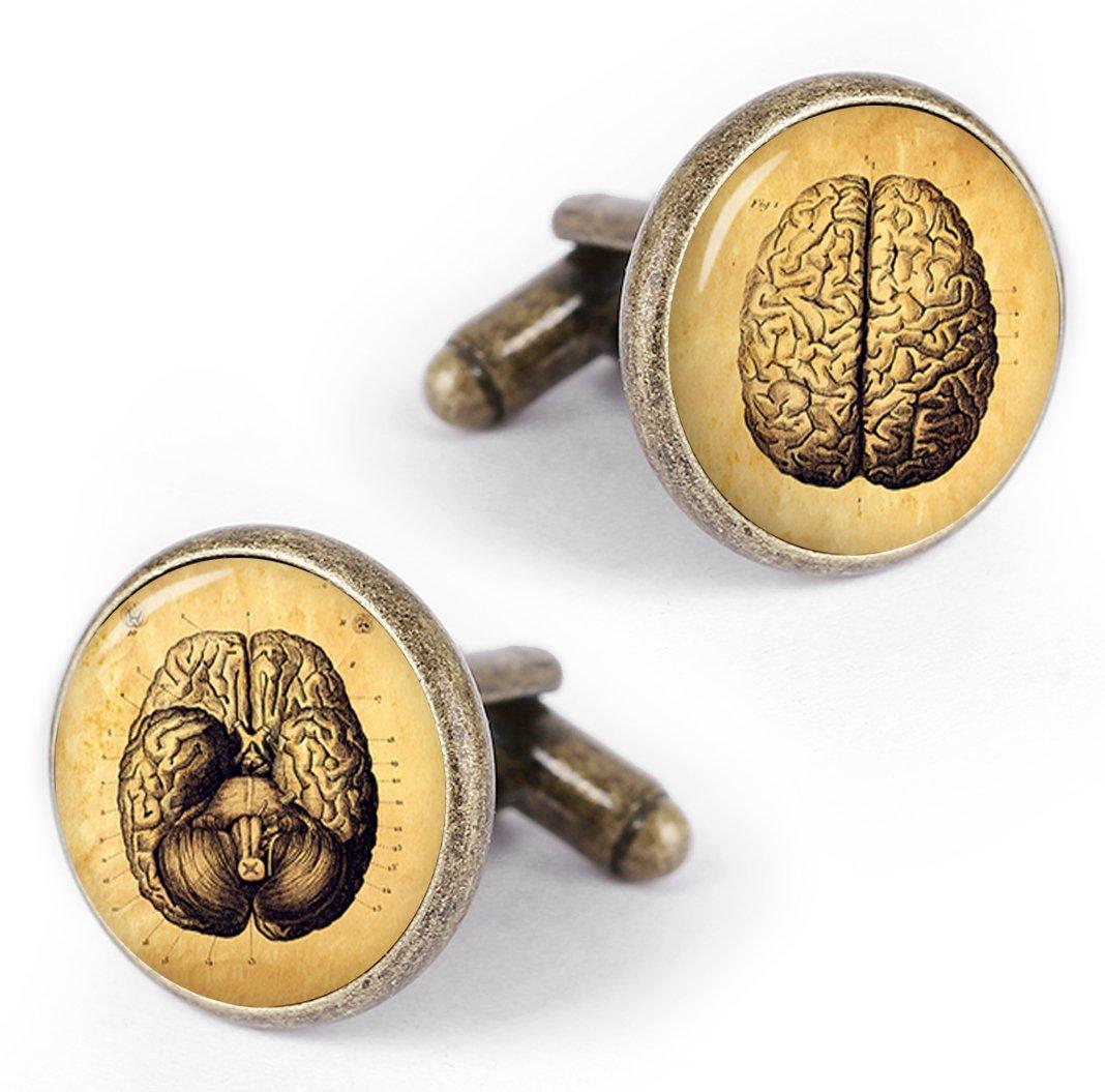 Kooer Vintage Human Anatomy Cufflinks Custom Anatomical Lungs Heart Cells Kidney Brain Bones Spine Eye