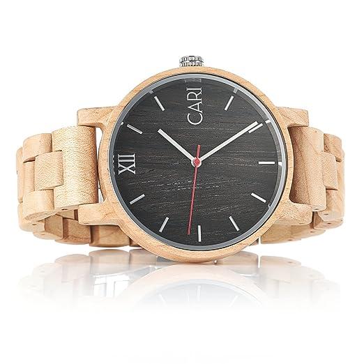 Cari Reloj para Hombre Movimiento Suizo con Correa de Madera de Arce - Reloj Pulsera Milán-051: Amazon.es: Relojes