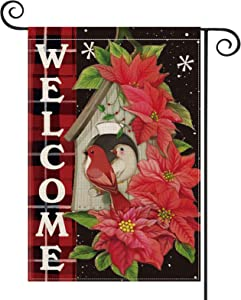 AVOIN Christmas Welcome Poinsettia Cardinal Bird Garden Flag Vertical Double Sized, Winter Holiday Watercolor Buffalo Check Plaid Snowflake Yard Outdoor Decoration 12.5 x 18 Inch