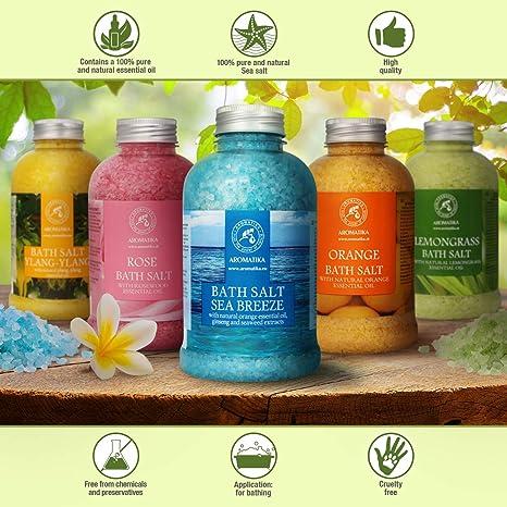 36d6ebb1753f29 Sel Marin avec Huile Essentielle de Orange 600g - 100% Naturelle avec  Extraits de Ginseng et D'algues - Meilleur pour un Bon Sommeil -  Soulagement du Stress ...