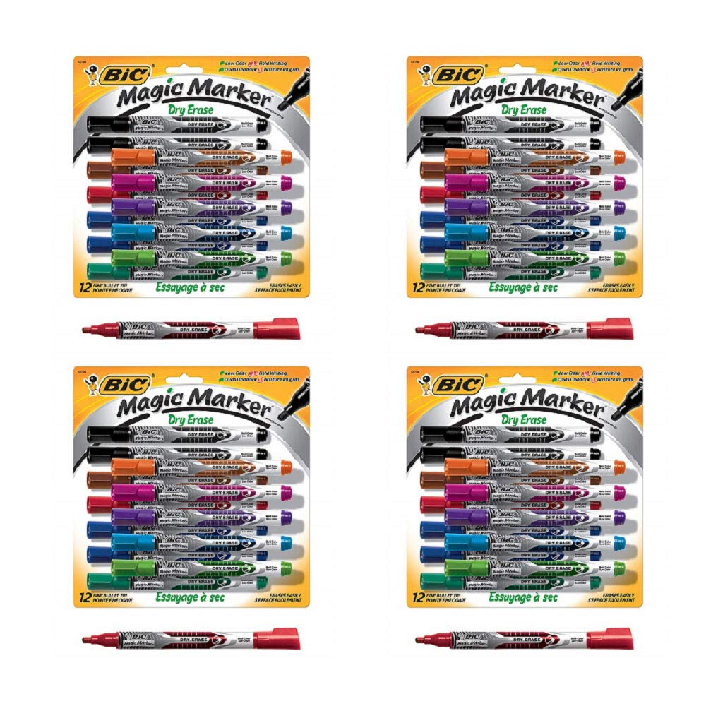 BIC Magic Marker Brand Dry Erase Marker, Fine Bullet Tip, Assorted Colors, 12-Count (4 Pack) by BIC (Image #1)