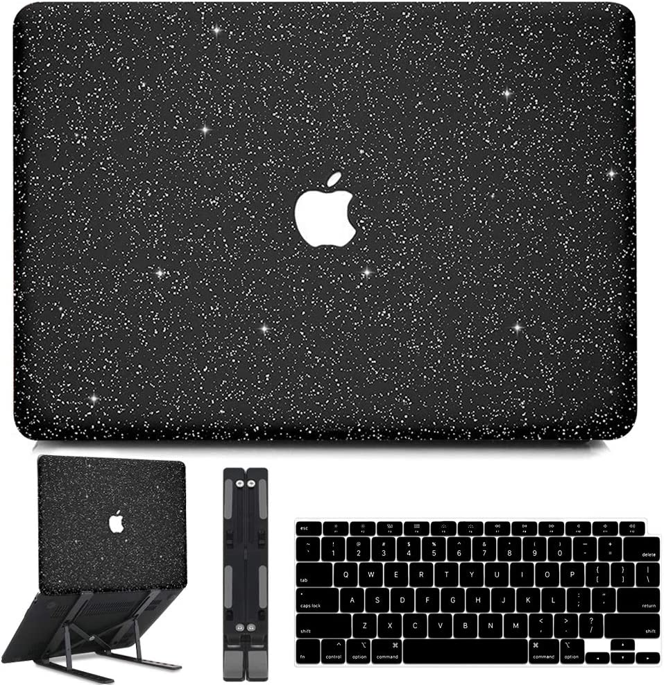 B BELK MacBook Air 13 inch Case 2020 2019 2018 Release M1 A2337 A2179 A1932 with Touch ID, Sparkly Leather Hard Shell Case with Keyboard Cover + Black Laptop Stand, Apple MacBook Air 2020 Case Retina