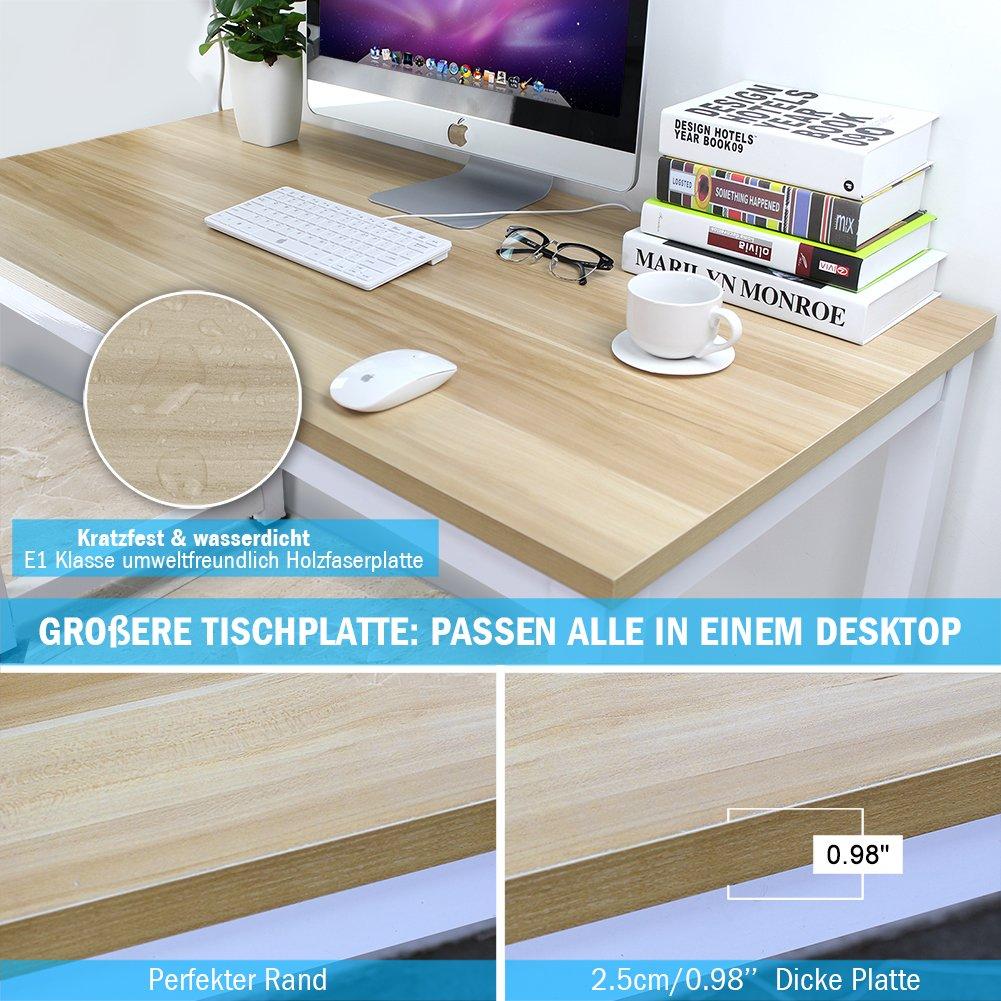 Tribesigns Computertisch Schreibtisch 25mm Dicke Moderner Bürotisch PC  Tisch Arbeitstisch Für Home Office Arbeitzimmer , Schreibtisch Für ...