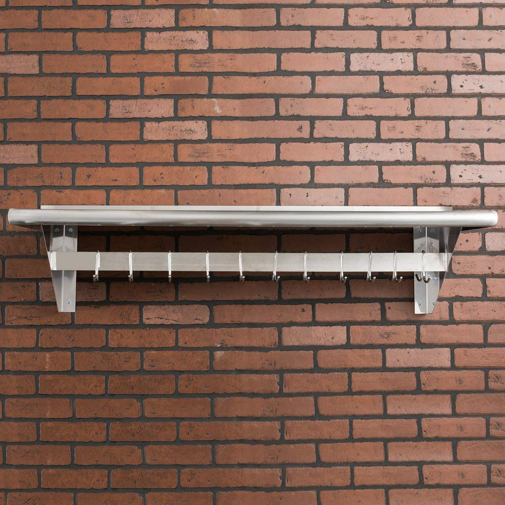 Hakka 15'' x 48'' Commercial Stainless Steel Wall Mounted Pot Rack with Shelf and Hooks by HAKKA FOOD PROCESSING (Image #3)