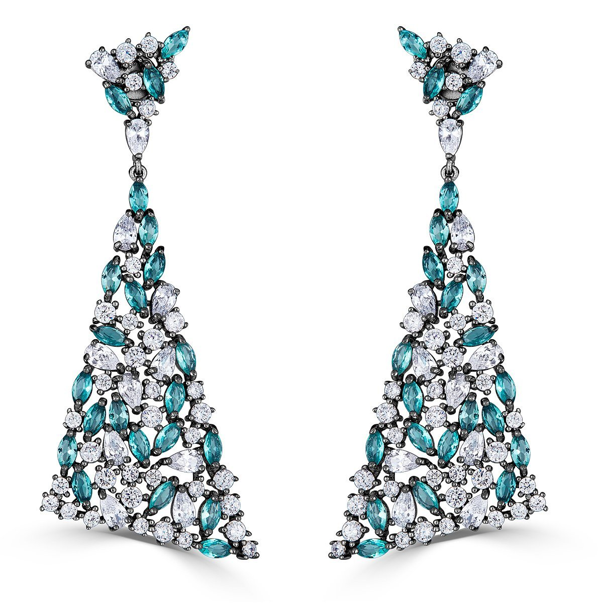 Black Rhodium Sterling Silver Cubic Zirconia Dangle Triangle Earrings by Caratina (Image #1)