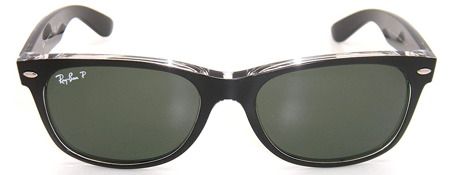 dcb393323ed Amazon.com  New Authentic Ray-Ban New Wayfarer RB 2132 6052 58 55mm Black    Green Polarized  Clothing