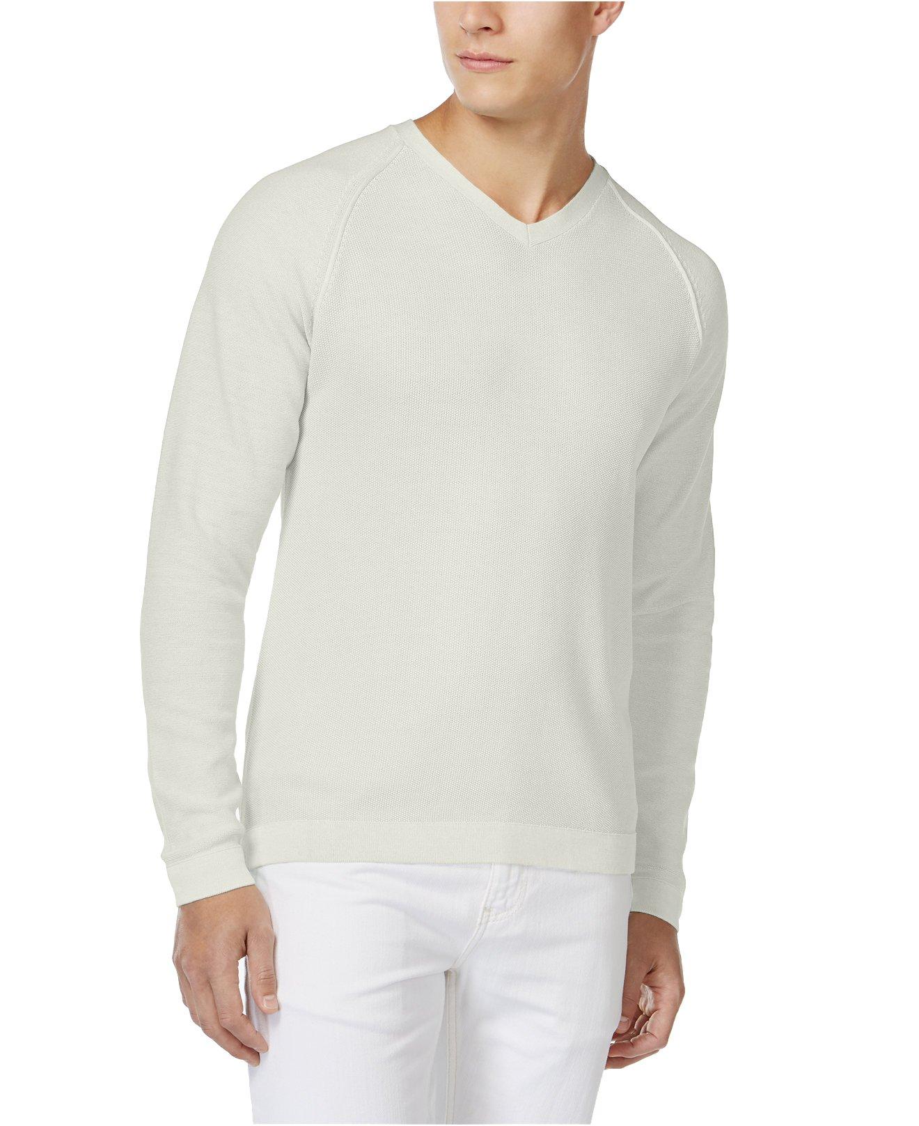 Tasso Elba Men's Acid Wash V-Neck Sweater (XL, Silverbirch)