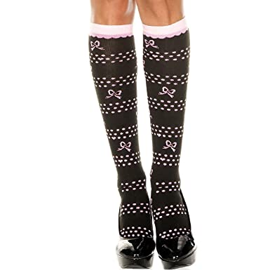 Music Legs 5702 Knee High Socks With Bow Polka Dots And Hearts Design