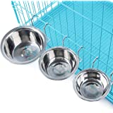 Topbeu Removable Pet Dog Bowl Stainless Steel Puppy Cat Cage Hanging Single Bowl Food Dish Feeder