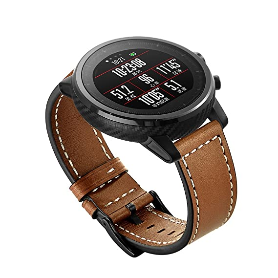 CIRCLE for Amazfit Stratos Smartwatch2/2S, Harmin Amazfit Stratos Bands Genuine Leather Replacement With Black Buckle Strap for Huami Amazfit Stratos ...