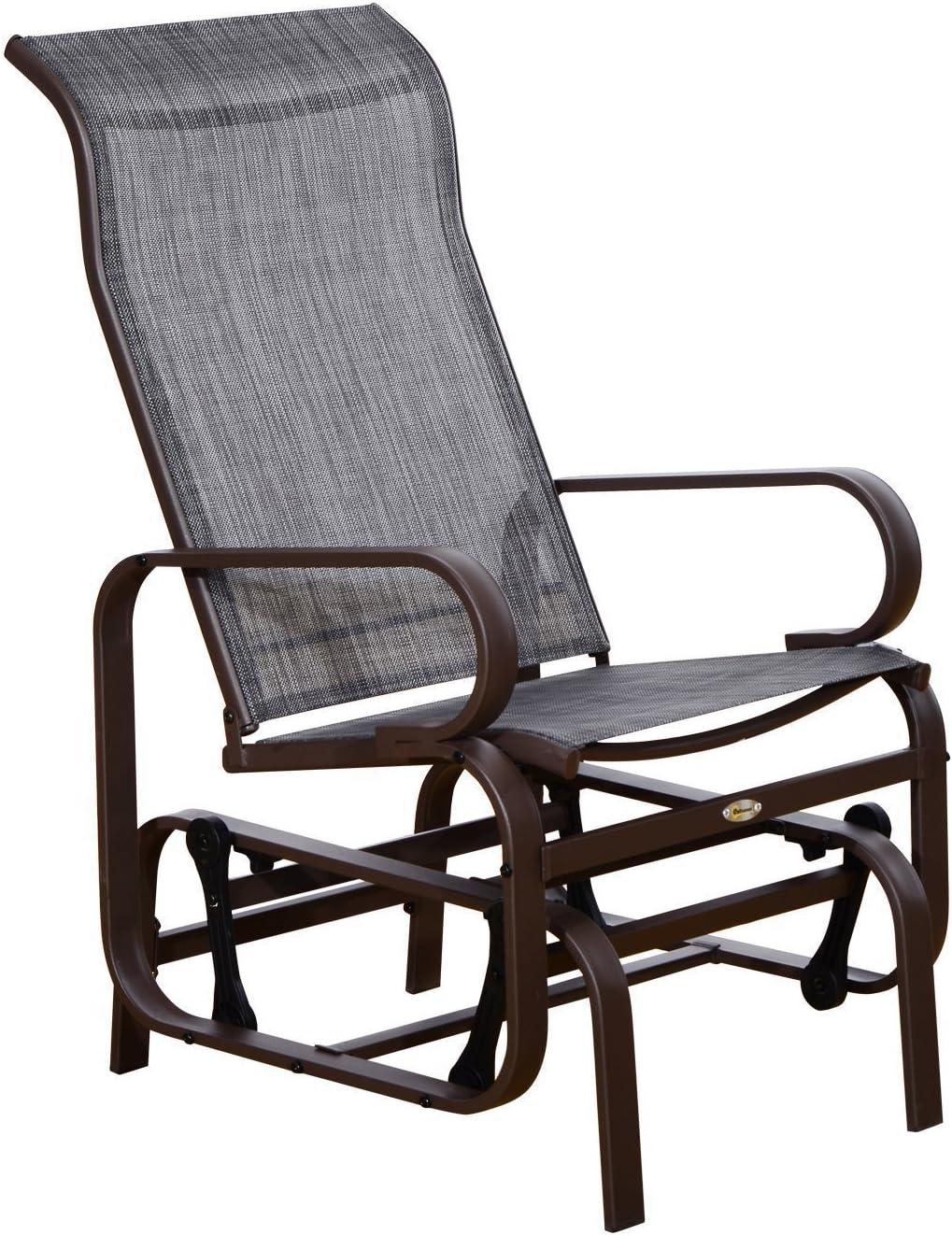 Outsunny Silla Balancin Portátil Cómodo Mecedora para Patio Jardín Terraza con 4 Brazos Oscilante Resistente Acero Tela Textilene Carga 165 KG 75x60x104 cm Marrón