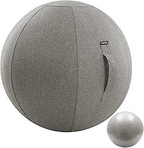 Guken Sitting Ball Chair with Cover, Exercise Yoga Ball for Office and Home Muscle Training Fitness,65cm 75cm Workout Ball with Pump and Handle
