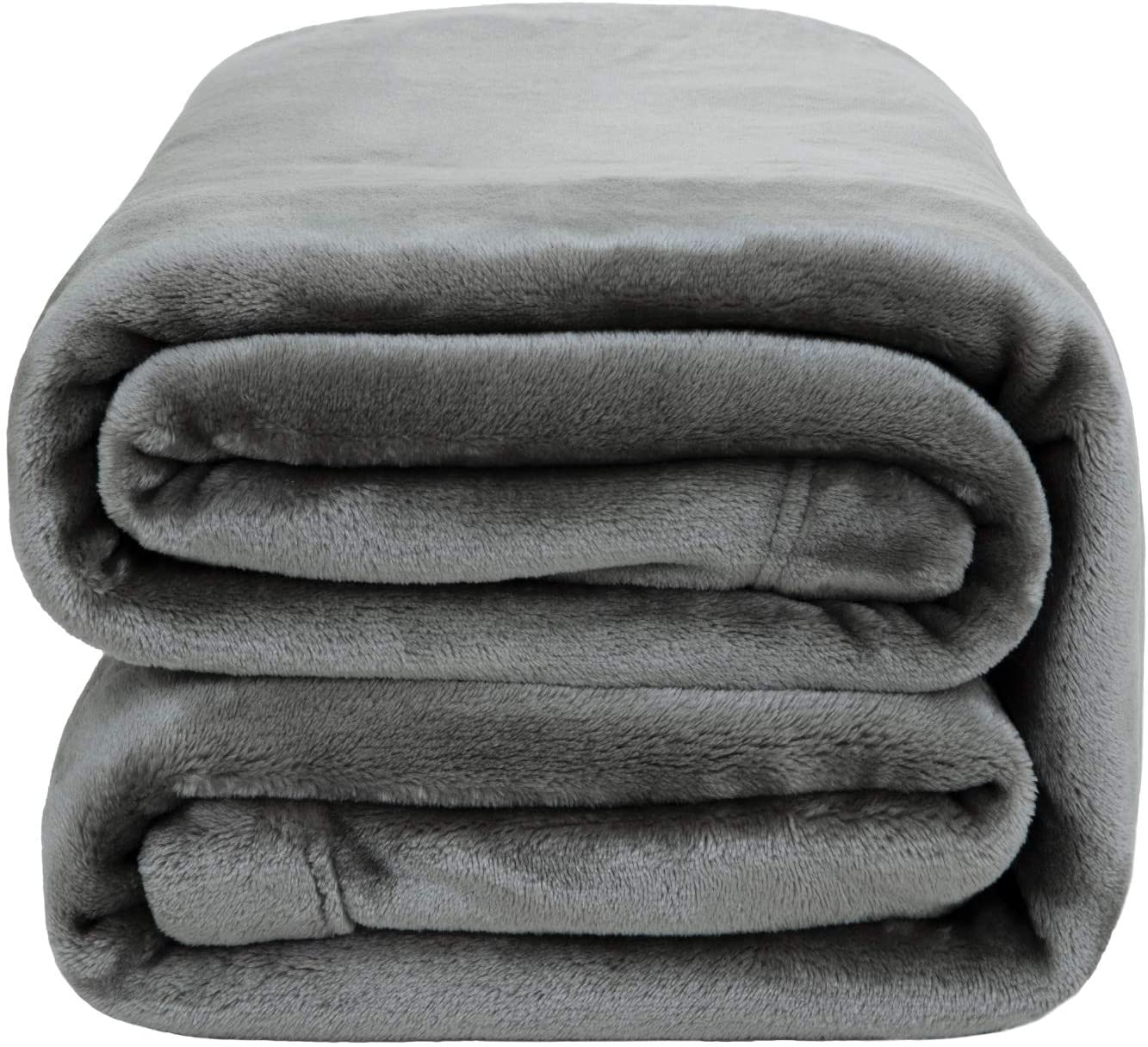 Bedsure Flannel Fleece Blanket 350GSM - Super Soft Warm Thick All Season Blanket for Couch Sofa Bed Traveling - Reversible Plush Bed Blankets, Twin Blanket 60x80 inches, Light Grey