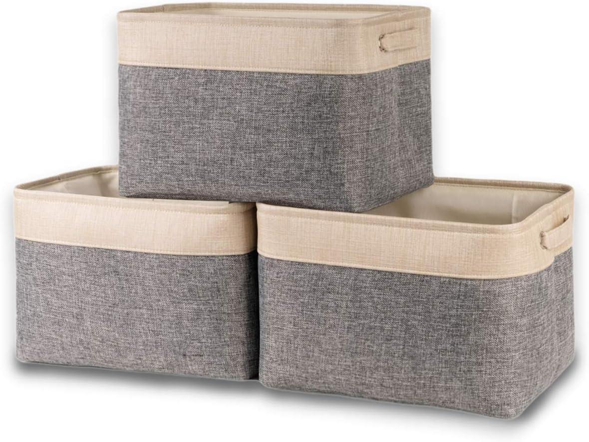 BAIST Cube Storage Basket, Collapsible Storage Bins Toy Storage Cube Organizer with Cotton Rope Canvas Cubby Storage Basket for Food, Dog, Closet, Cloth, Kitchen, Baby, Shelf (3-Pack, Dark Gray)