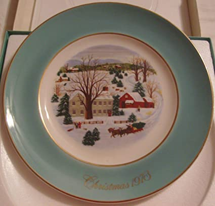 avon 1973 christmas on the farm plate
