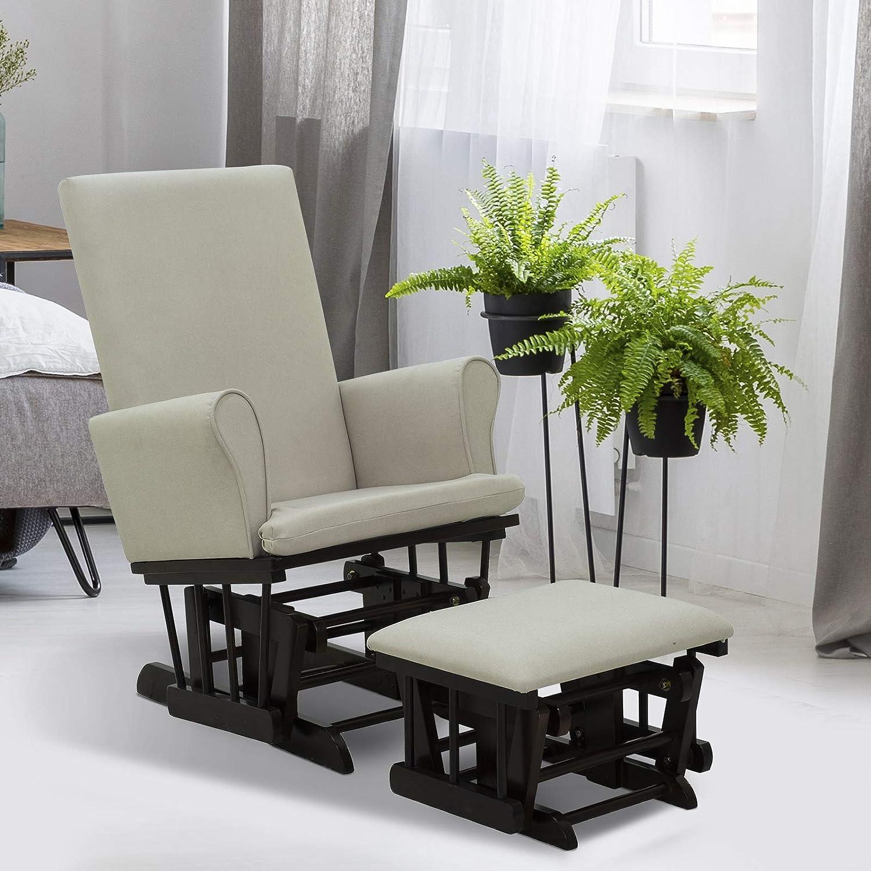 HOMCOM 2 Piece Rubberwood Linen Glider Rocking Chair with Ottoman Set – Cream White