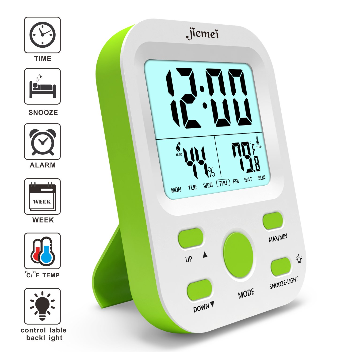 jiemei Alarm Clock Battery Operated, Digital Alarm Clocks for Kids and Adults with Snooze Function, LCD Large Display, Smart Backlight (Green)