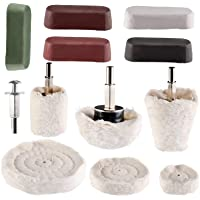 Hedume 12 Pieces Polishing Pad Set Including 5 Pcs Rouge Compound Cone, Column Mushroom T-Shaped Wheel Grinding Head…