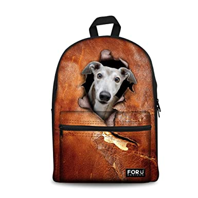 bb8e70f6cf FOR U DESIGNS Personalized Black Dog Print Casual Canvas Backpack for Teen  Boys