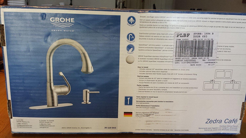 Grohe Zedra Supersteel Infinity 1-handle Pull-down Kitchen Faucet ...