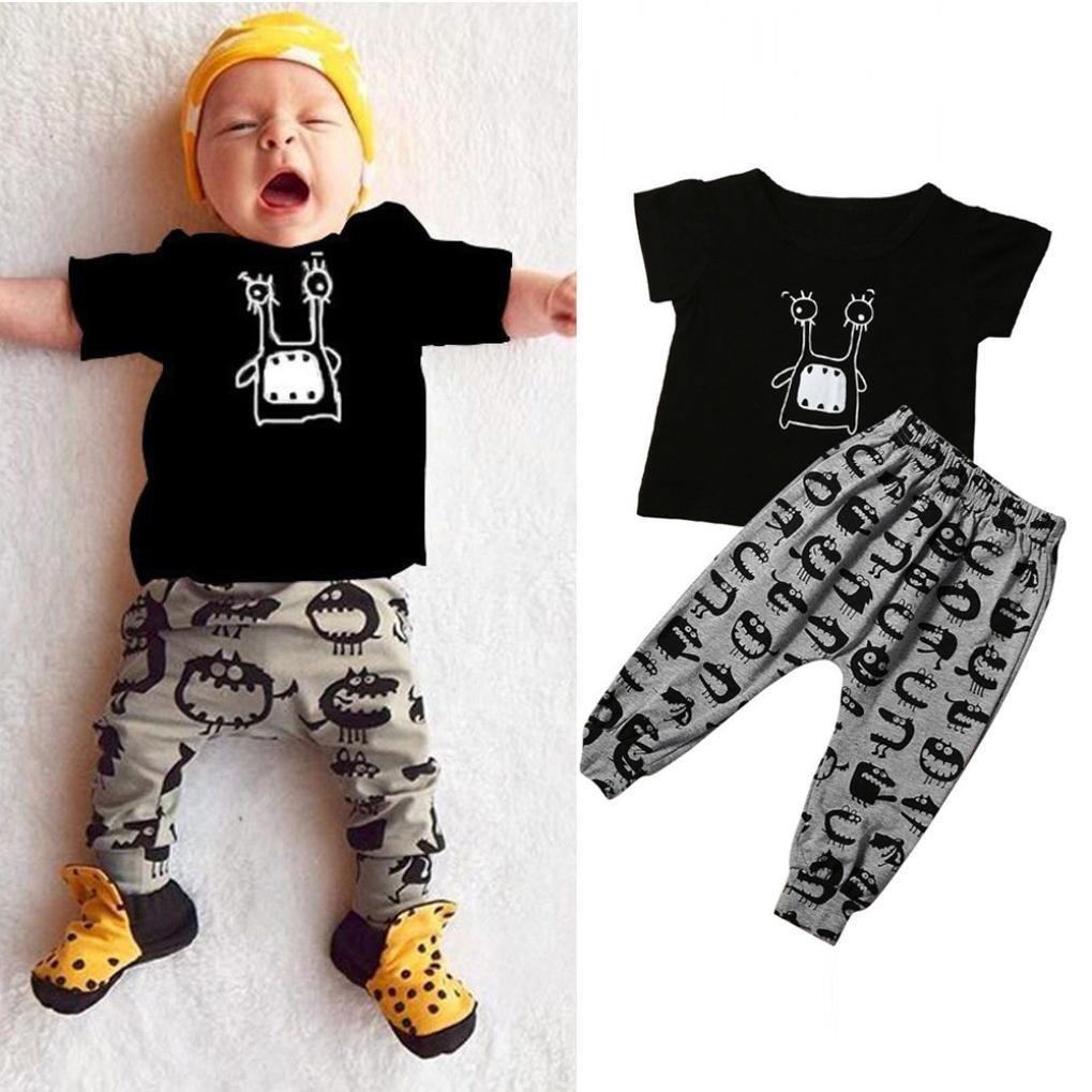 LANDFOX La ropa corta de los trajes del monstruo de la manga del beb/é de la manga del beb/é reci/én nacido