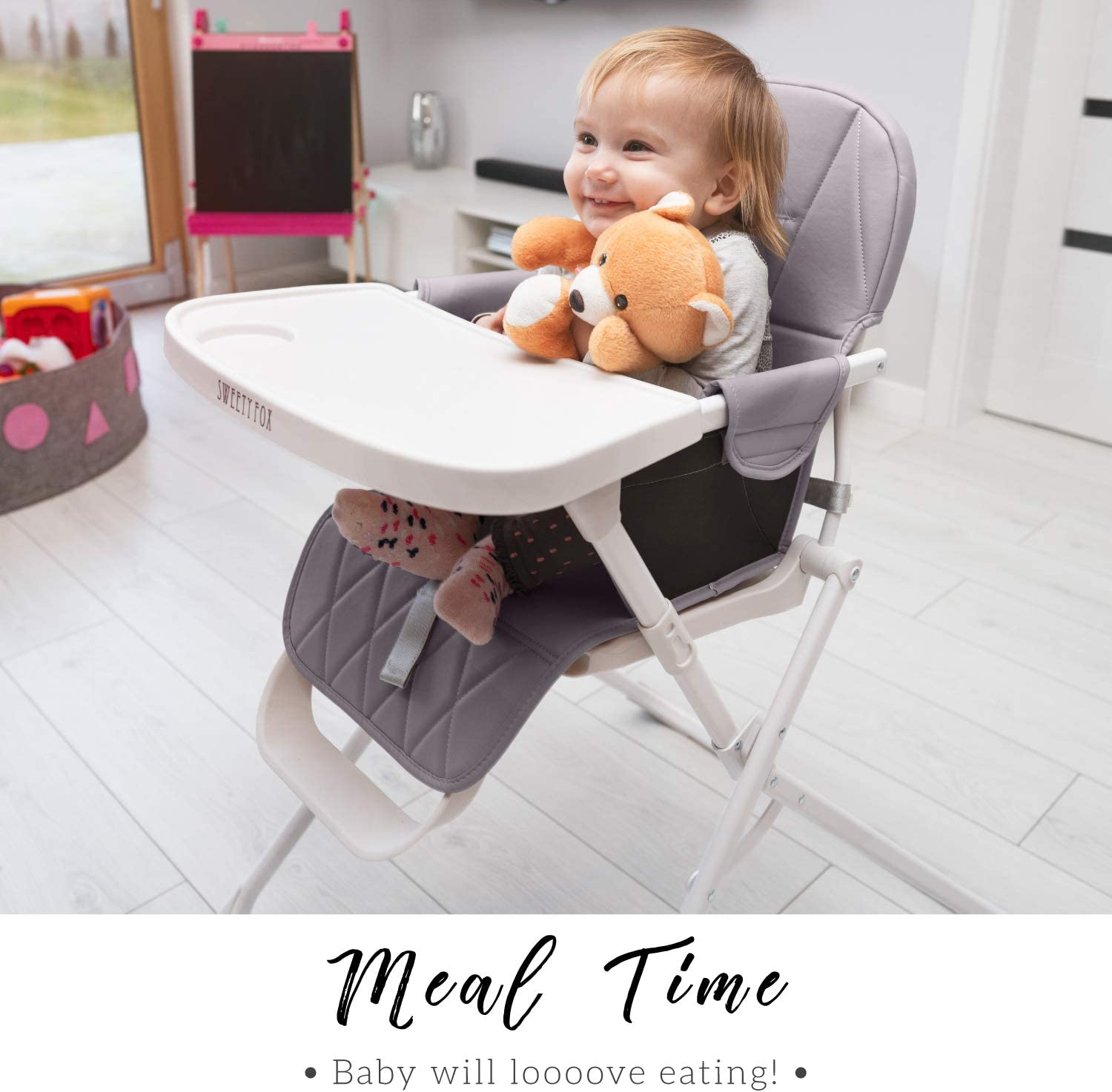 Compact Stylish Baby Seat with Cushion for Comfort Adjustable and Foldable Baby High Chair Highchair for Babies and Children with Removable BPA-Free Tray 5-Point Harness Baby Highchairs