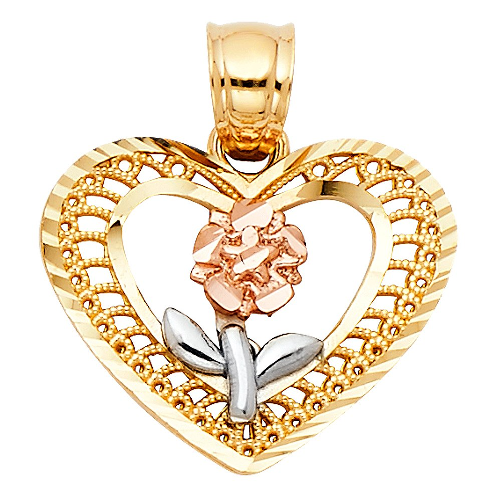 Million Charms 14k Tri-color Gold Heart Charm with Rose Flower and White Stem Center Charm Pendant 15mm x 18mm