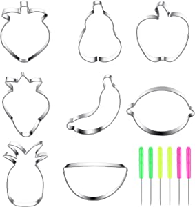 8 Pieces Fruit Cookie Cutter Set Strawberry, Apple, Pear, Pineapple, Banana, Lemon, Peach, Watermelon Shape Stainless Steel Biscuit Cutter with 6 Pieces Sugar Stir Needle for Baking Cookie Chocolate