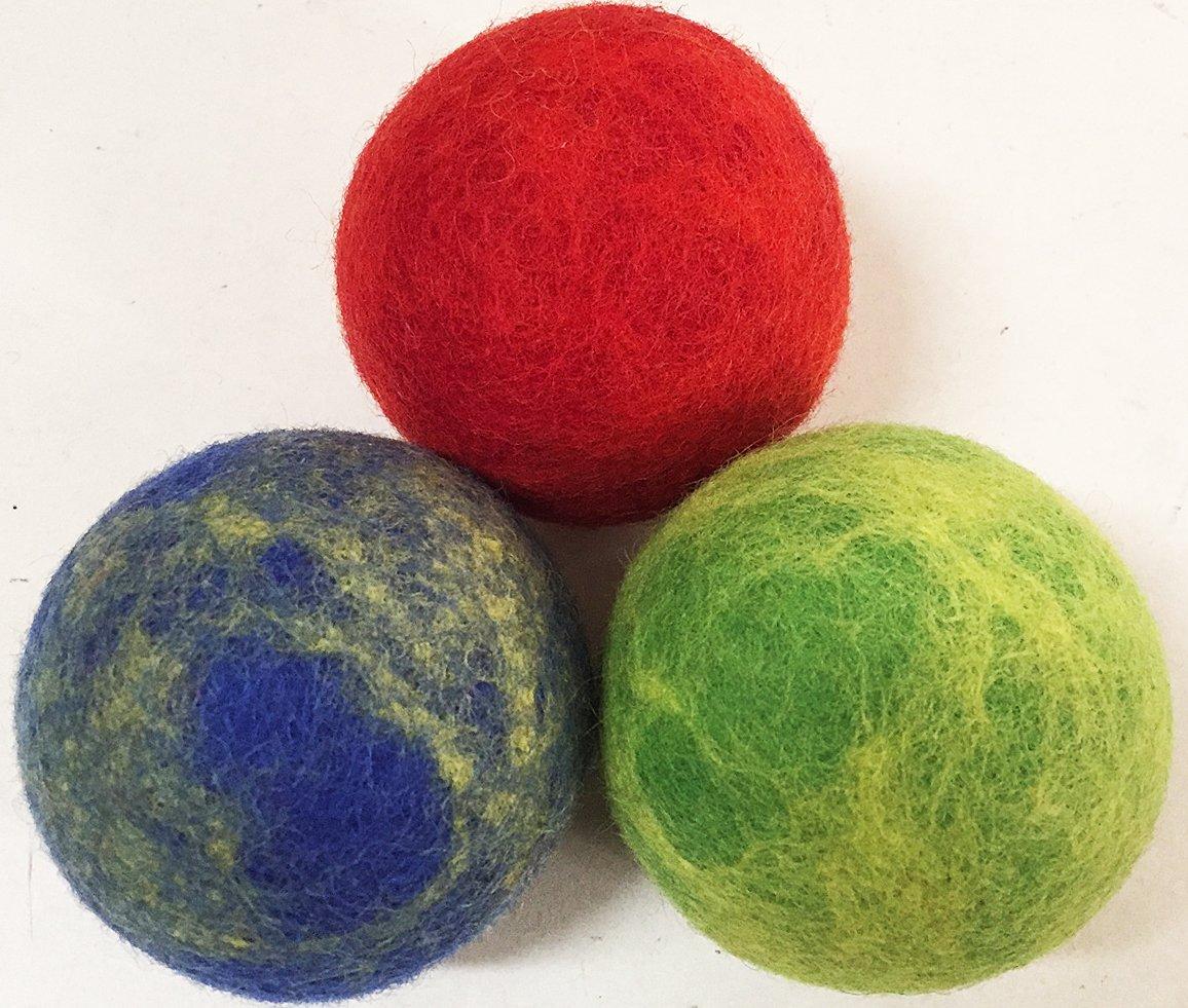 Lynnette Organic Felt Wool Felted Dryer Balls XL Premium Reusable (Colored/Darks)