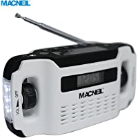 New Macneil Wind up and Solar Powered Portable Radio - Eco Friendly - Ideal for Walking, Hiking, Camping Emergency Power Cut, Car/Home - in Alpine White