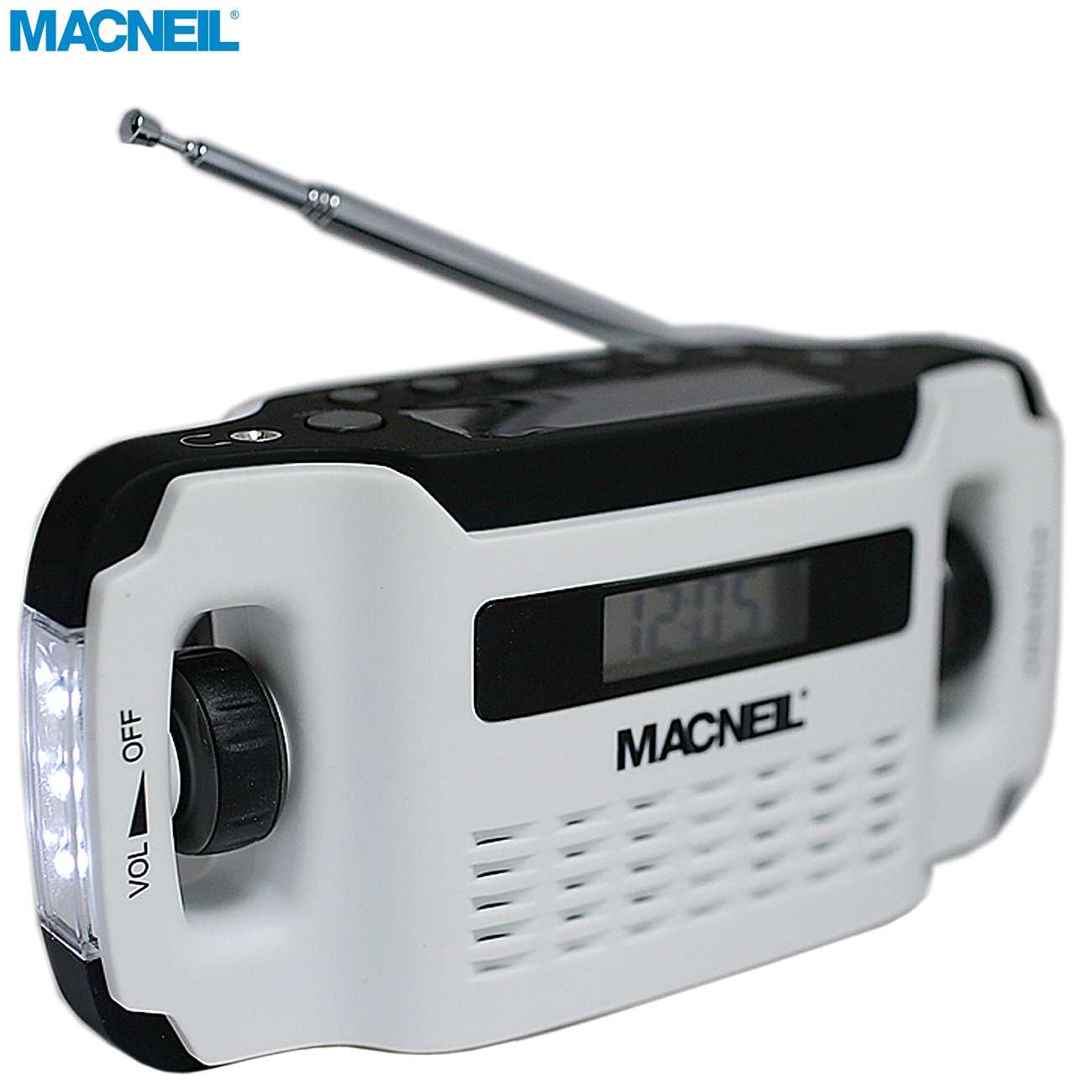 Macneil Windup and Solar Powered Portable AM/FM Radio with Built-in LED Torch and USB Charging Cable - Ideal for Walking, Hiking Camping and Home Office/Kitchen use - in Alpine White MCN5020
