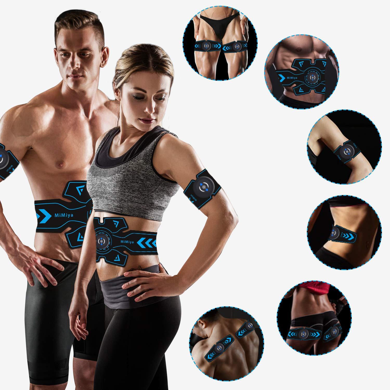 MiMiya Electroestimulador Muscular Abdominales Cintur/ón Electroestimulador Abdominal USB Recargable EMS Muscular y masajeador Masajeador El/éctrico Cintur/ón para Hombre/& Mujer 14 PCs Gel de reemplazo