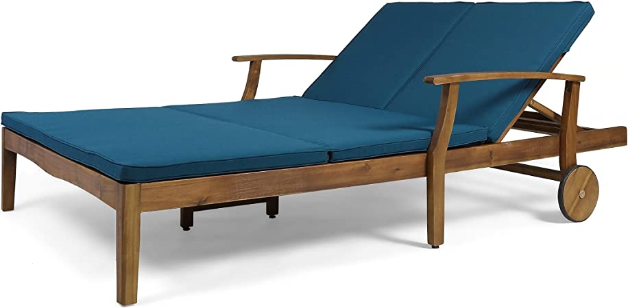 Christopher Knight Home Perla Outdoor Acacia Wood Double Chaise Lounge by Teak Finish Orange