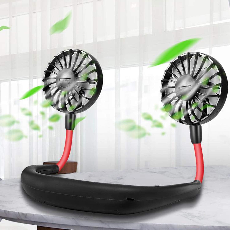 USB Fan, Portable Fan, Hanging Necklace Rechargeable Fan, Foldable 360 Degree Rotating Double Head Tiny Fan with Adjustable 3 Speed Black