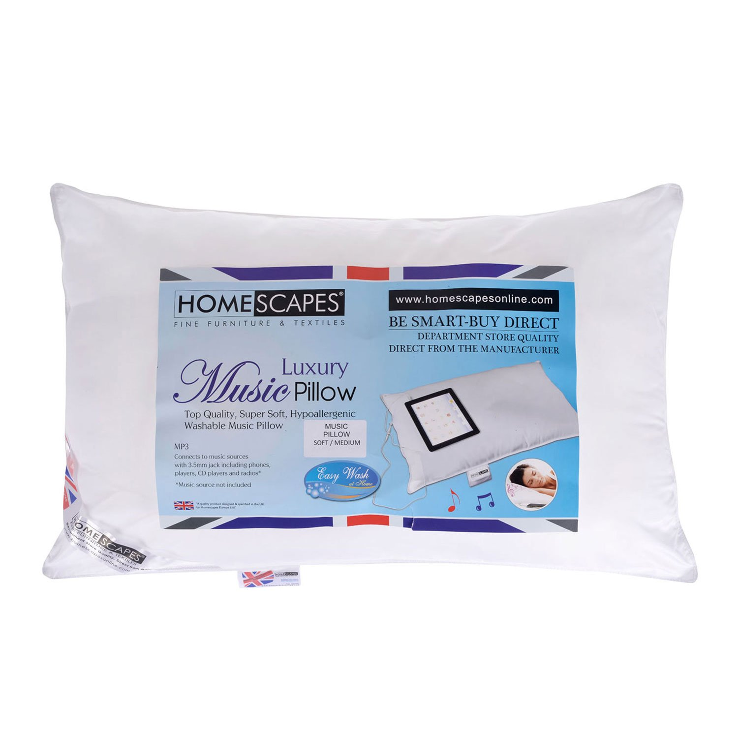 Homescapes - WASHABLE - Music Pillow Super Microfibre Bounce Back Filling - Firmness Rating (Medium/Firm)