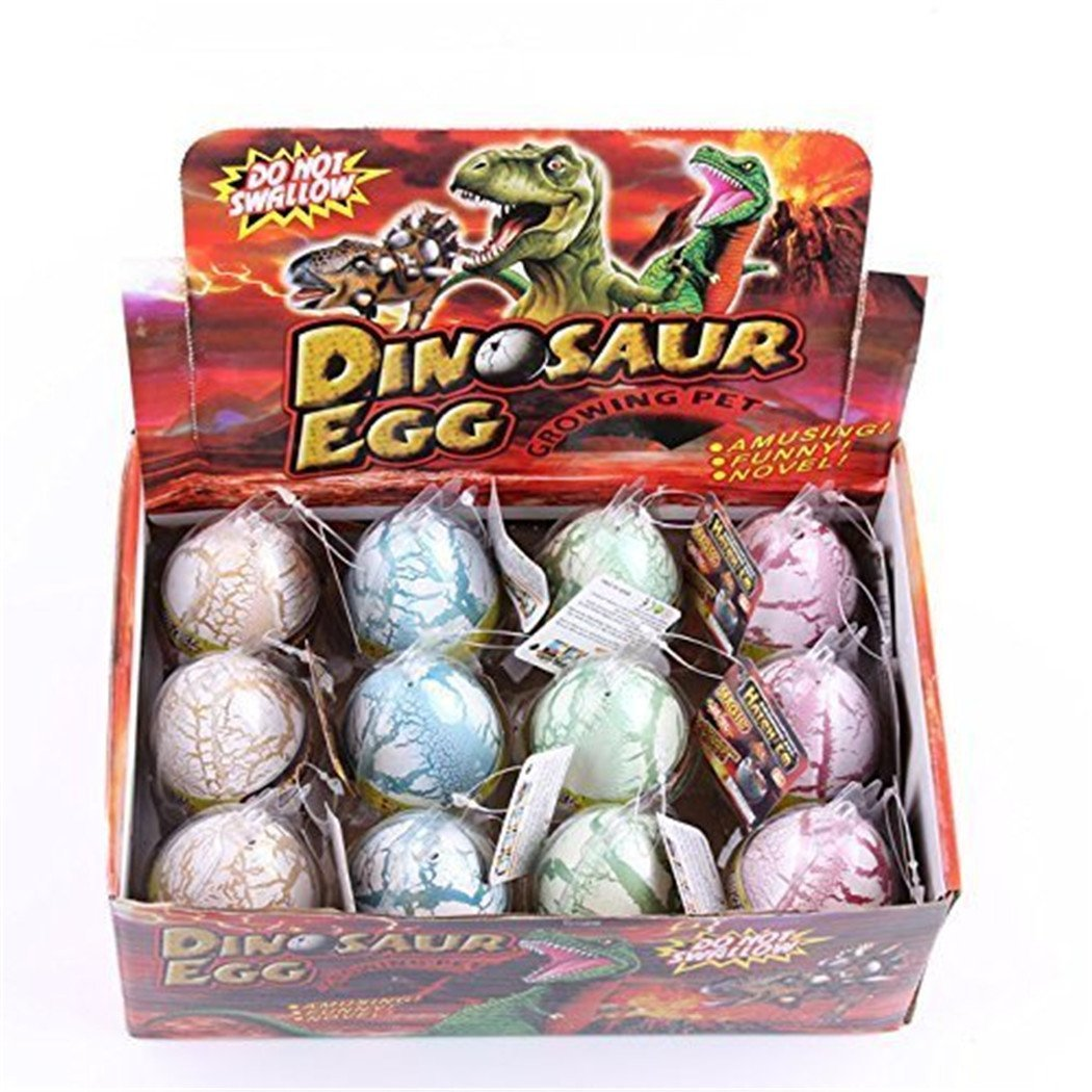 Pack of 12 Color Crack Dinosaur Dragon Hatch & Grow Eggs Educational Toys for Kids
