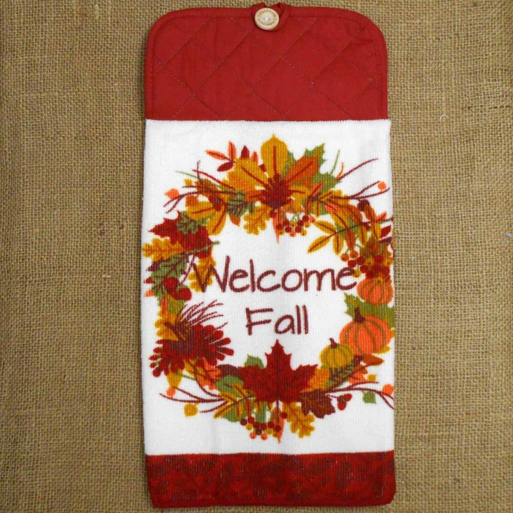 Welcome Fall Wreath Microfiber Dish Towel, Autumn Kitchen Decor