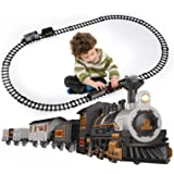 iHaHa Electric Train Set for Kids, Battery-Powered Train Toys Include Locomotive Engine, 3 Cars and 10 Tracks, Classic Toy Tr