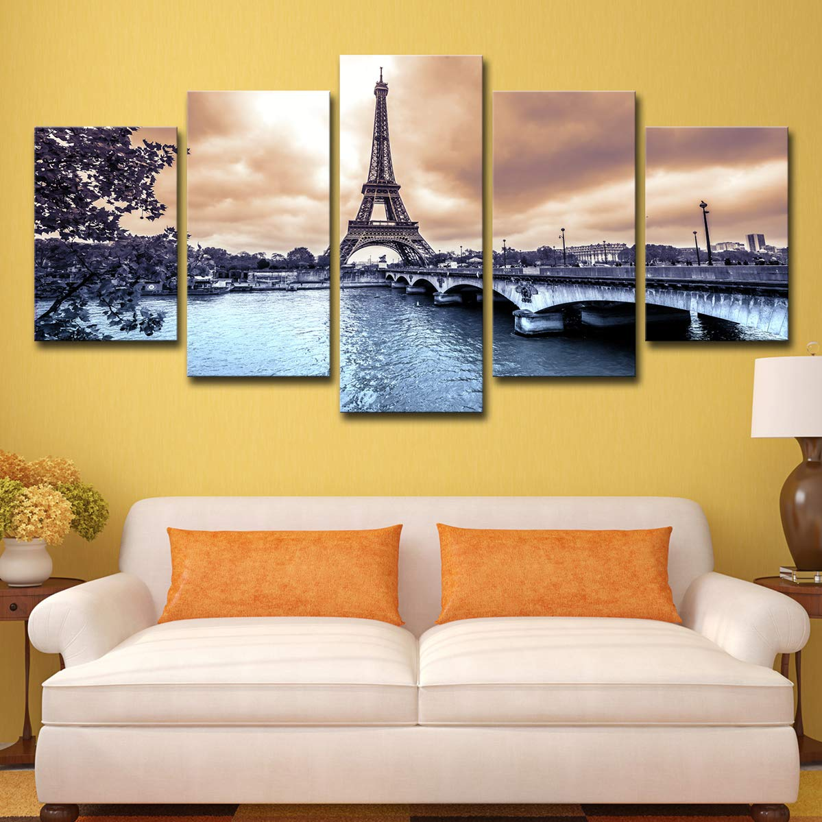 SHOMPE Framed Canvas Wall Art Eiffel Tower Pictures Ready to Hang 5 Panels Paris River Bridge Painting HD Printed Poster Artwork for Bedroom Living Room Modern Home Decorations