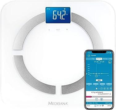 Medisana BS 430 Connect, balanza digital de análisis corporal 180 kg, balanza personal para la medición de grasa corporal, agua corporal, masa ...