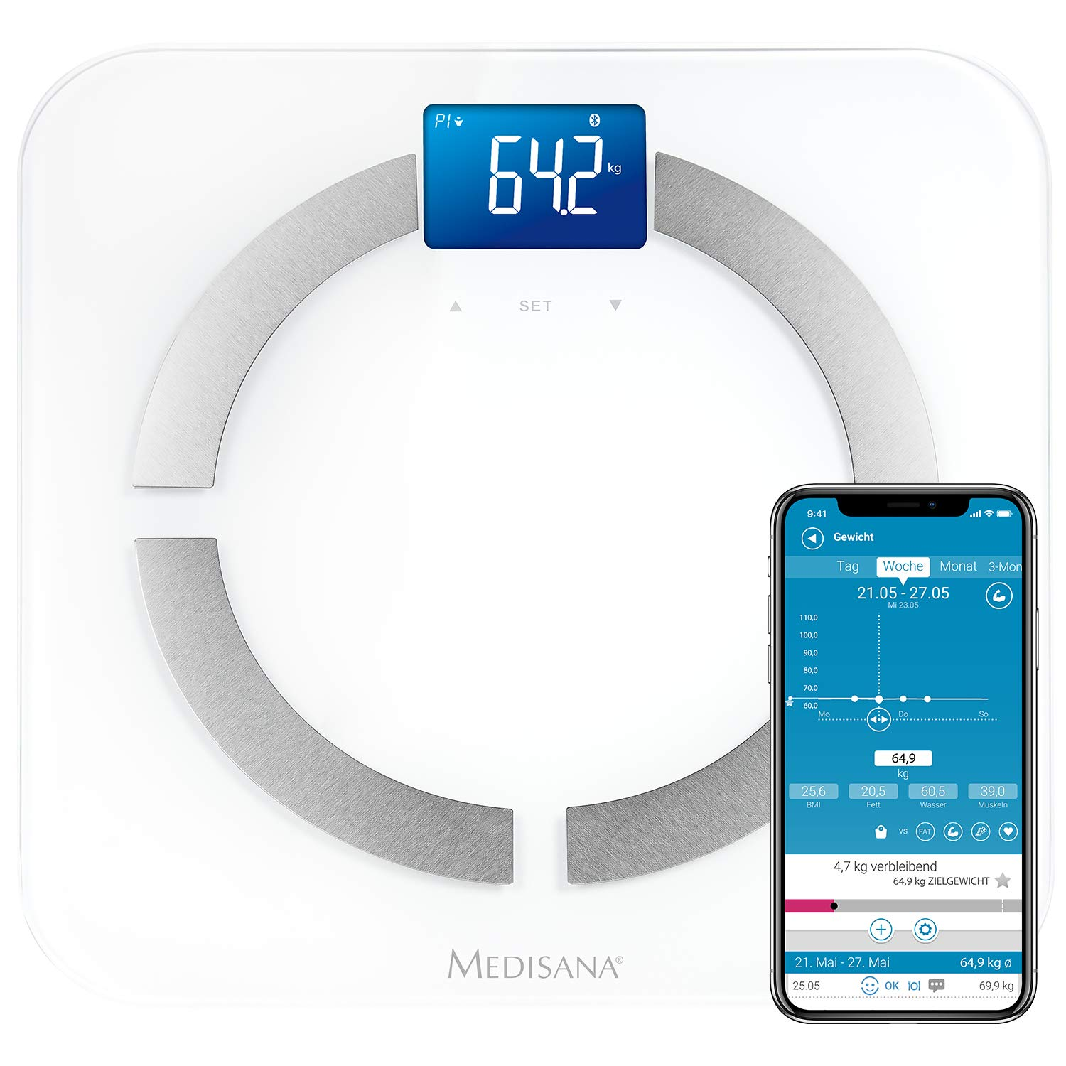 Medisana 40422 BS430 Body Analysis Scale VitaDock App for iOS and Android Measurement of Weight, Body Fat, Body Water and Muscle Mass Bluetooth Data Transfer to iPhone, iPad, iPod, iMac, MacBook or Android Devices by MEDISANA (Image #1)